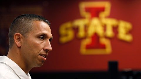 """<p>               FILE - In this Aug. 1, 2019, file photo, Iowa State coach Matt Campbell speaks during his team's annual NCAA college football media day in Ames, Iowa. No. 21 Iowa State (8-5 in 2018) open on August 31 at home against Northern Iowa of the FCS, with sunny skies and temperatures in the mid-70s in the forecast for kickoff. The Cyclones then get a bye _ and an extra week to evaluate themselves _ before hosting 20th-ranked Iowa on Sept. 14. """"I love it,"""" Iowa State coach Matt Campbell said about having a bye during the second week of the season.(AP Photo/Charlie Neibergall, File)             </p>"""