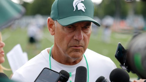 <p>               FILE - In this Aug. 12, 2019, file photo, Michigan State coach Mark Dantonio talks to reporters during the NCAA college football team's practice in East Lansing, Mich. Michigan State went 7-6 last season and scored only 32 points over its final four games. Even so, the Spartans are ranked 18th in the AP's preseason poll. Although there are plenty of questions surrounding Dantonio's team, it feels like voters decided to give Michigan State the benefit of the doubt for now. (AP Photo/Al Goldis, File)             </p>