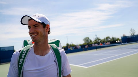 <p>               Andy Murray, of Britain, smiles after practice at the Western & Southern Open tennis tournament, Sunday, Sunday, Aug. 11, 2019, in Mason, Ohio. (AP Photo/John Minchillo)             </p>