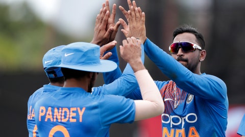 <p>               India's Krunal Panda, right, celebrates with India's Manish Pandey, left, after Pandey caught West Indies' Nicholas Pooran during the second Twenty20 international cricket match, Sunday, Aug. 4, 2019, in Lauderhill, Fla. (AP Photo/Lynne Sladky)             </p>