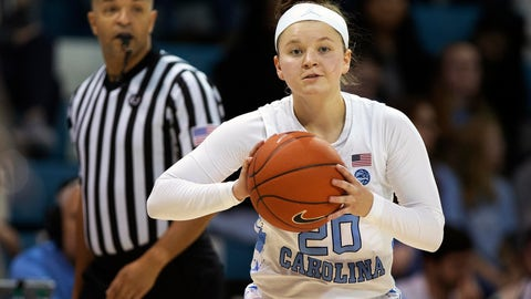 """<p>               FILE - In this Thursday, Jan. 17, 2019 file photo, North Carolina's Leah Church (20) looks to pass during an NCAA college basketball game in Chapel Hill, N.C. North Carolina guard Leah Church is getting national attention for a viral video showing her making three straight 3-pointers while shooting over her head and with her back to the basket. The clip now has more than 1 million views and was featured on NBC's """"Today"""" show. (AP Photo/Ben McKeown, File)             </p>"""