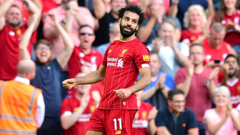 <p>               Liverpool's Mohamed Salah celebrates scoring during the English Premier League soccer match against Arsenal at Anfield, Liverpool, England, Saturday Aug. 24, 2019. (Anthony Devlin/PA via AP)             </p>