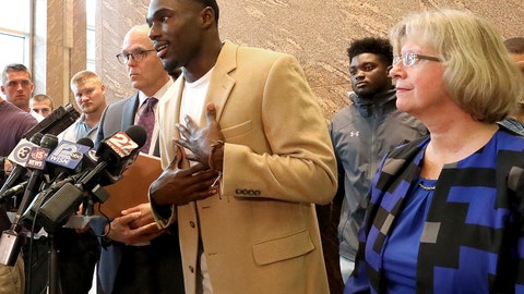 <p>               Former Wisconsin Badger football player Quintez Cephus speaks during a press conference to reiterate his request for reinstatement to the university in Madison, Wis. Monday, Aug. 12, 2019. The former wide receiver was acquitted earlier this month of sexual assault charges stemming from a campus incident in his apartment. He was expelled from the university in March after the university's own internal investigation. He is pictured with his attorneys, Stephen Meyer and Kathleen Stilling, as well as a group of current team members were on hand to show support for Cephus at the event. (John Hart/Wisconsin State Journal via AP)             </p>
