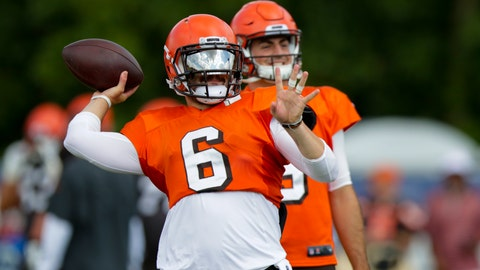 <p>               Cleveland Browns quarterback Baker Mayfield (6) throws in front of quarterback David Blough (9) during practice at the NFL team's football training camp in Westfield, Ind., Thursday, Aug. 15, 2019. The Browns held a joint practice with the Indianapolis Colts. (AP Photo/Michael Conroy)             </p>