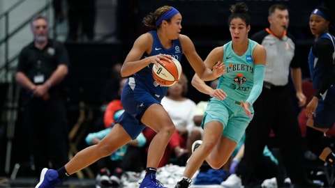 <p>               Minnesota Lynx forward Napheesa Collier, left, drives toward the basket with New York Liberty guard Kia Nurse (5) defending during the first half of a WNBA basketball game Tuesday, Aug. 13, 2019, in White Plains, N.Y. (AP Photo/Kathy Willens)             </p>