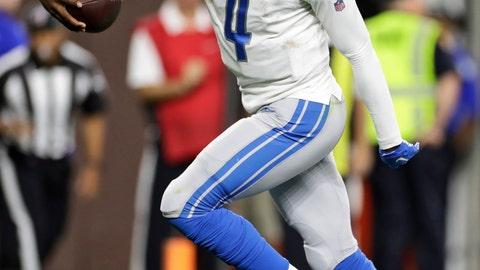 <p>               Detroit Lions quarterback Josh Johnson scores a 1-yard touchdown during the second half of the team's NFL preseason football game against the Cleveland Browns, Thursday, Aug. 29, 2019, in Cleveland. (AP Photo/Ron Schwane)             </p>