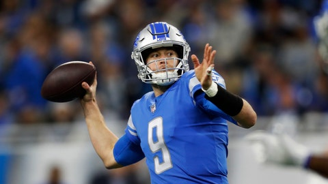 <p>               FILE - In this Dec. 23, 2018, file photo, Detroit Lions quarterback Matthew Stafford throws a pass during the first half of the team's NFL football game against the Minnesota Vikings in Detroit. Stafford has started since he was a rookie and after injuries stunted his first two seasons, the strong-arm quarterback has started every game for eight straight years. (AP Photo/Rey Del Rio, File)             </p>
