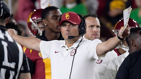 <p>               FILE - In this Nov. 24, 2018, file photo, Southern California head coach Clay Helton gestures during the first half of an NCAA college football game against Notre Dame in Los Angeles. Helton went 21-6 with a Rose Bowl victory and Pac-12 title in his first two full seasons as USC coach, but his job status is one of the stories of the 2019 season. (AP Photo/Mark J. Terrill, File)             </p>