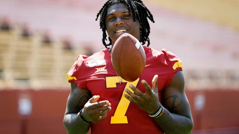 <p>               Iowa State wide receiver La'Michael Pettway tosses a football during the school's annual NCAA college football media day, Thursday, Aug. 1, 2019, in Ames, Iowa. (AP Photo/Charlie Neibergall)             </p>