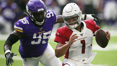 <p>               Arizona Cardinals quarterback Kyler Murray (1) runs from Minnesota Vikings defensive end Ifeadi Odenigbo (95) during the first half of an NFL preseason football game, Saturday, Aug. 24, 2019, in Minneapolis. (AP Photo/Jim Mone)             </p>