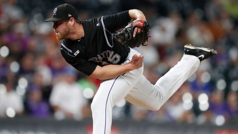 <p>               Colorado Rockies relief pitcher Scott Oberg works against the Miami Marlins during the ninth inning of a baseball game Friday, Aug. 16, 2019, in Denver. The Rockies won 3-0. (AP Photo/David Zalubowski)             </p>