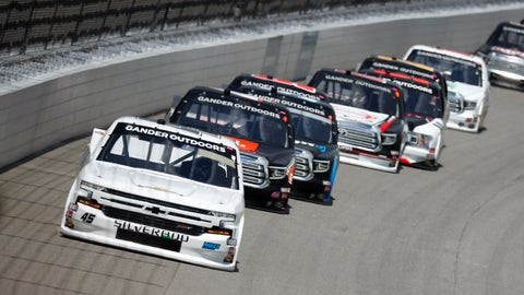 <p>               Ross Chastain leads the field during a NASCAR Truck Series race at Michigan International Speedway in Brooklyn, Mich., Saturday, Aug. 10, 2019. (AP Photo/Paul Sancya)             </p>