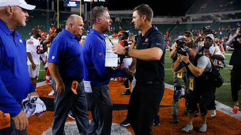 <p>               New York Giants coach Pat Shurmur, center left, and Cincinnati Bengals coach Zac Taylor, center right, meet after an NFL preseason football game Thursday, Aug. 22, 2019, in Cincinnati. (AP Photo/Gary Landers)             </p>