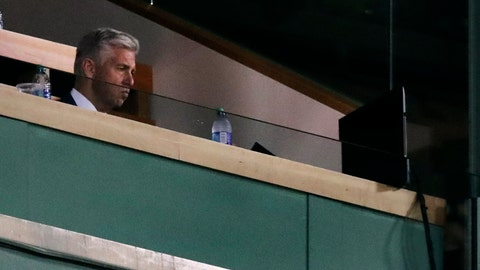 <p>               Dave Dombrowski, Boston Red Sox president of baseball operations, watches play against the Tampa Bay Rays during the seventh inning at Fenway Park in Boston, Wednesday, July 31, 2019. (AP Photo/Charles Krupa)             </p>