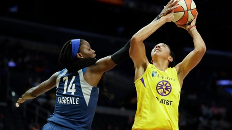 <p>               Minnesota Lynx center Temi Fagbenle, left, blocks a shot by Los Angeles Sparks forward Candace Parker during the second half of a WNBA basketball game in Los Angeles, Tuesday, Aug. 20, 2019. (AP Photo/Chris Carlson)             </p>