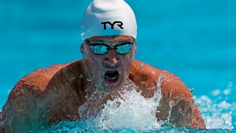 <p>               Ryan Lochte competes in the men's 200-meter individual medley time trial at the U.S. national swimming championships in Stanford, Calif., Wednesday, July 31, 2019. Lochte is returning from a 14-month suspension. (AP Photo/David J. Phillip)             </p>