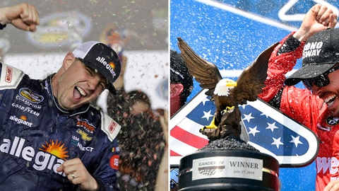 <p>               FILE - At left, in a Feb. 16, 2018, file photo, Johnny Sauter celebrates in Victory Lane after winning the NASCAR Truck Series auto race at Daytona International Speedway in Daytona Beach, Fla. At right, in a July 27, 2019, file photo,  Ross Chastain celebrates in victory lane after winning a NASCAR Truck Series auto race in Long Pond, Pa. Brett Moffitt, Ross Chastain, Austin Hill, Johnny Sauter, Stewart Friesen, Tyler Ankrun, Grant Enfinger and Matt Crafton  are competing in the NASCAR Truck Series playoffs. (AP Photo/File)             </p>