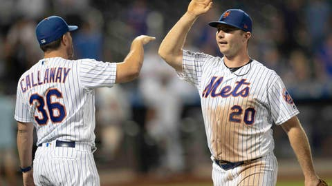 <p>               New York Mets' Pete Alonso (20) and Mickey Callaway (36) celebrate the team's 5-0 win over the Miami Marlins in a baseball game Tuesday, Aug. 6, 2019, in New York. (AP Photo/Mary Altaffer)             </p>