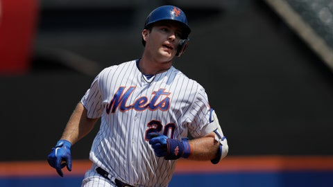 <p>               New York Mets' Pete Alonso rounds the bases with a two-run home run against the Miami Marlins in the first inning of a baseball game, Wednesday, Aug. 7, 2019, in New York. (AP Photo/Mark Lennihan)             </p>