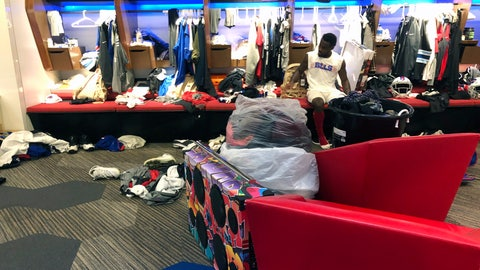 <p>               Buffalo Bills NFL football wide receiver Isaiah McKenzie sits at his locker after practice on Monday, Aug. 26, 2019, in Orchard Park, N.Y., with all the worldly possessions he brought to Buffalo stored in front of him. He's got a collection of clothes in one large bucket, and more in two plastic bags, plus an oversized colorful boombox. The third-year player does this as motivation by reminding himself how uncertain his future is with NFL teams making their final cuts by Saturday. And it's also a way of being ready to travel in an instant, should McKenzie get cut by the team. (AP Photo/John Wawrow)             </p>