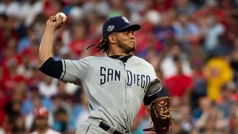 <p>               San Diego Padres' Dinelson Lamet pitches during the second inning of a baseball game against the Philadelphia Phillies, Saturday, Aug. 17, 2019, in Philadelphia. (AP Photo/Matt Rourke)             </p>