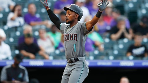<p>               Arizona Diamondbacks' Jarrod Dyson gestures as he crosses home plate after hitting a solo home run off Colorado Rockies starting pitcher Jeff Hoffman to lead off the first inning of a baseball game Tuesday, Aug. 13, 2019, in Denver. (AP Photo/David Zalubowski)             </p>