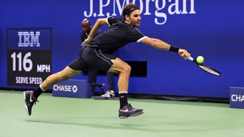 <p>               Roger Federer stretches for a return against Sumit Nagal during the first round of the U.S. Open tennis tournament in New York, Monday, Aug. 26, 2019. (AP Photo/Charles Krupa)             </p>