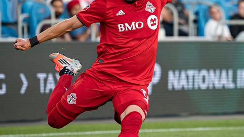<p>               Toronto FC midfielder Marco Delgado shoots on Orlando City's net during first-half MLS soccer match action in Toronto,  Saturday, Aug. 10, 2019. (Christopher Katsarov/The Canadian Press via AP)             </p>