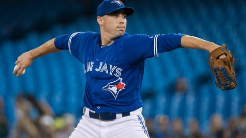 <p>               Toronto Blue Jays starting pitcher Aaron Sanchez works during first-inning baseball game action against the Tampa Bay Rays in Toronto, Sunday, July 28, 2019. (Nathan Denette/The Canadian Press via AP)             </p>