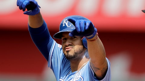<p>               Kansas City Royals' Cheslor Cuthbert celebrates on second after hitting a two-run double during the fifth inning of a baseball game against the Oakland Athletics Thursday, Aug. 29, 2019, in Kansas City, Mo. (AP Photo/Charlie Riedel)             </p>