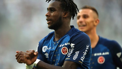 <p>               Reims' Boulaye Dia celebrates after scoring the opening goal during the French League One soccer match between Marseille and Reims at the Velodrome Stadium in Marseille, France, Saturday, Aug. 10, 2019. (AP Photo/Daniel Cole)             </p>