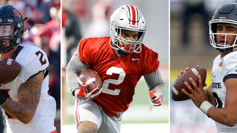 <p>               FILE - From left are file photos showing Oklahoma State wide receiver Tylan Wallace in 2018, Ohio State running back JK Dobbins in 2019 and Utah State quarterback Jordan Love in 2018. The three could be considered among darkhorse contenders for the Heisman. (AP Photos/File)             </p>