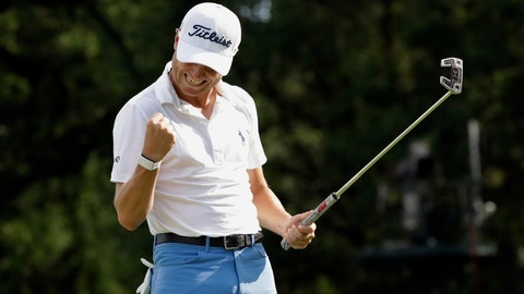 <p>               Justin Thomas celebrates after sinking a birdie on the 18th green during the final round at the BMW Championship golf tournament at Medinah Country Club, Sunday, Aug. 18, 2019, in Medinah, Ill. He finished under 25. (AP Photo/Nam Y. Huh)             </p>