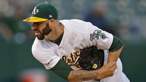<p>               Oakland Athletics pitcher Mike Fiers works against the Houston Astros during the first inning of a baseball game Thursday, Aug. 15, 2019, in Oakland, Calif. (AP Photo/Ben Margot)             </p>