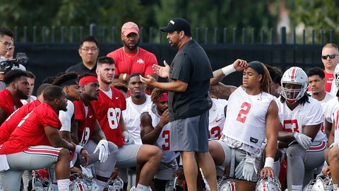 <p>               FILE - In this Aug. 2, 2019, file photo, Ohio State head coach Ryan Day talks with players during NCAA college football practice, in Columbus, Ohio. Day is taking over a program that went 83-9 in seven seasons under Meyer. The Buckeyes hardly needed a makeover and Day has not felt compelled to put his so-called stamp on Ohio State as he transitioned from offensive coordinator to head coach. (AP Photo/Jay LaPrete, File)             </p>