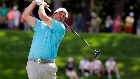 <p>               Phil Mickelson watches his tee shot on the 18th hole during the second round of the BMW Championship golf tournament at Medinah Country Club, Friday, Aug. 16, 2019, in Medinah, Ill. (AP Photo/Nam Y. Huh)             </p>