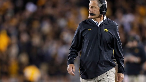 <p>               FILE - In this Sept. 22, 2018, file photo, Iowa head coach Kirk Ferentz walks the sidelines during the first half of an NCAA college football game against Wisconsin in Iowa City. The 20th-ranked Hawkeyes are looking to answer questions at running back ahead of their season opener next weekend. (AP Photo/Matthew Putney, File)             </p>