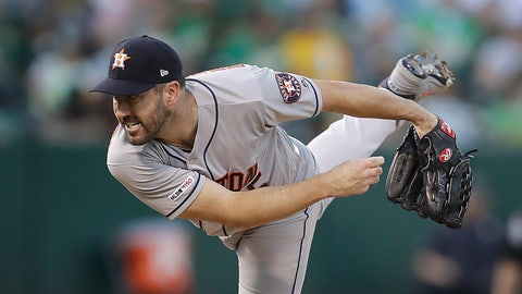 <p>               Houston Astros pitcher Justin Verlander works against the Oakland Athletics during the first inning of a baseball game Friday, Aug. 16, 2019, in Oakland, Calif. (AP Photo/Ben Margot)             </p>