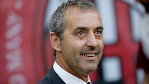 <p>               AC Milan's manager Marco Giampaolo looks up prior to the Serie A soccer match between AC Milan and Brescia, at the San Siro stadium in Milan, Italy, Saturday, Aug. 31, 2019. (AP Photo/Luca Bruno)             </p>