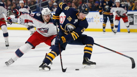 <p>               FILE - In this March 31, 2019, file photo, Buffalo Sabres defenseman Rasmus Dahlin (26) carries the puck past Columbus Blue Jackets forward Josh Anderson (77) during the first period of an NHL hockey game in Buffalo, N.Y.  Last season did not sit well with Dahlin. Unaccustomed to losing and no longer a rookie, Dahlin told The Associated Press on Thursday, Aug. 22, 2019, that he feels better prepared and is far more driven to help transform the Sabres into playoff contenders. (AP Photo/Jeffrey T. Barnes, File)             </p>