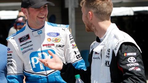 <p>               Austin Cindric, left, and Jack Hawksworth talk in the garage after qualifying for the NASCAR Xfinity Series auto race, Saturday, Aug. 10, 2019, at Mid-Ohio Sports Car Course in Lexington, Ohio. Cindric won the pole award for the race. (AP Photo/Tom E. Puskar)             </p>