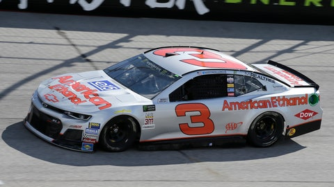 <p>               FILE - In this Aug. 31, 2018, file photo, Austin Dillon drives a car painted with a throwback scheme from the Dale Earnhardt era into Turn 1 during a NASCAR Cup Series auto racing practice session at Darlington Raceway, in Darlington, S.C.   (AP Photo/Terry Renna)             </p>