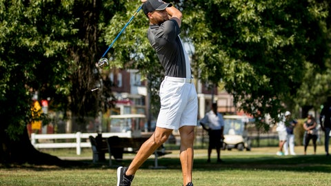 <p>               Golden State Warriors guard Stephen Curry tees off at Langston Golf Course in Washington, Monday, Aug. 19, 2019, following an announcement that he would be sponsoring men's and women's golf teams at Howard University. (AP Photo/Andrew Harnik)             </p>