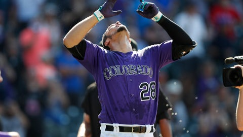 <p>               Colorado Rockies' Nolan Arenado celebrates after his walk off, two-run home run off Arizona Diamondbacks relief pitcher Archie Bradley in the ninth inning of a baseball game Wednesday, Aug. 14, 2019, in Denver. The Rockies won 7-6. (AP Photo/David Zalubowski)             </p>