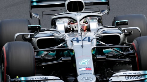 <p>               Mercedes driver Lewis Hamilton of Britain steers his car during the third practice session of the Hungarian Formula One Grand Prix at the Hungaroring racetrack in Mogyorod, northeast of Budapest, Hungary, Saturday, Aug. 3, 2019. The Hungarian Formula One Grand Prix takes place on Sunday. (AP Photo/Laszlo Balogh)             </p>