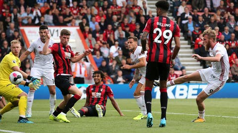 <p>               Sheffield United's Billy Sharp, centre, scores his side's first goal of the game during the English Premier League soccer match between Bournemouth and Sheffield United at the Vitality Stadium, Bournemouth, England. Saturday, Aug, 10 2019. (Mark Kerton/PA via AP)             </p>