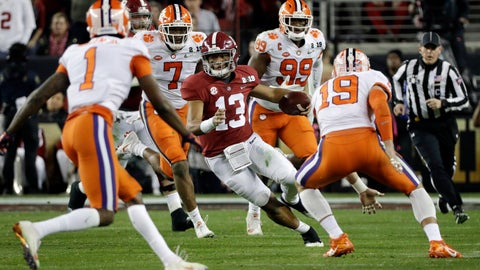 <p>               FILE - In this Jan. 7, 2019, file photo, Alabama's Tua Tagovailoa scrambles during the first half of the NCAA college football playoff championship game against Clemson in Santa Clara, Calif. Tagovailoa has been studying men from the Bible, like Joseph, Moses and David. The Alabama quarterback can draw from their successes and failures and the fact that they each had some of both. Now, Tagovailoa has, too, after an almost too-good-to-be-true start to his college career.   (AP Photo/David J. Phillip, File)             </p>