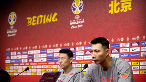 <p>               Chinese team member and former NBA player Yi Jianlian, right, speaks as coach Li Nan listens at a press conference at the Cadillac Arena ahead of the start of the FIBA Basketball World Cup in Beijing, Friday, Aug. 30, 2019. The competition, which features 32 teams from around the globe, will be held in 8 cities across China starting on Saturday. (AP Photo/Mark Schiefelbein)             </p>
