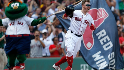 <p>               Boston Red Sox's Brock Holt celebrates his game-winning RBI single during the 10th inning of a baseball game against the Kansas City Royals that was suspended by rain with the scored tied on Aug. 8, and continued at Fenway Park in Boston, Thursday, Aug. 22, 2019. (AP Photo/Michael Dwyer)             </p>