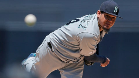 <p>               FILE - In this April 24, 2019 file photo, Seattle Mariners starting pitcher Felix Hernandez works against a San Diego Padres batter during the first inning of a baseball game, in San Diego. Venezuela was once an incubator of Major League Baseball stars such Hernandez. But chances for Venezuelans to make it to the MLB are now small and getting remoter. (AP Photo/Gregory Bull, File)             </p>